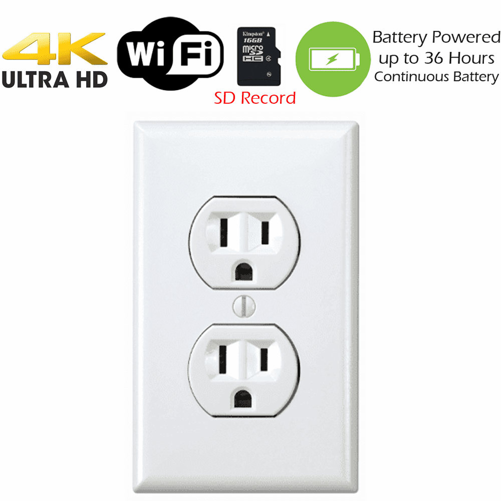 4K Battery Powered Receptacle Outlet Spy Camera