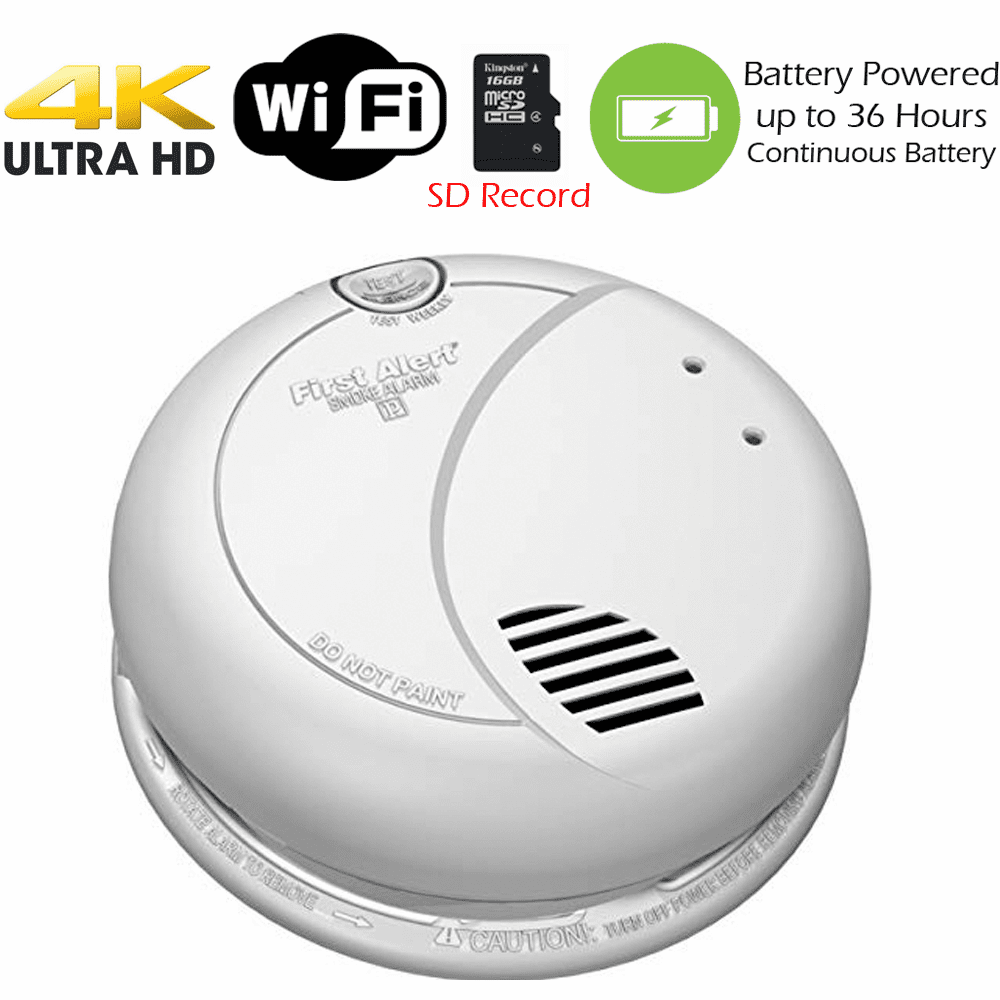 4K Ultra HD Battery Powered WiFi Smoke Detector Fire Alarm Spy Camera