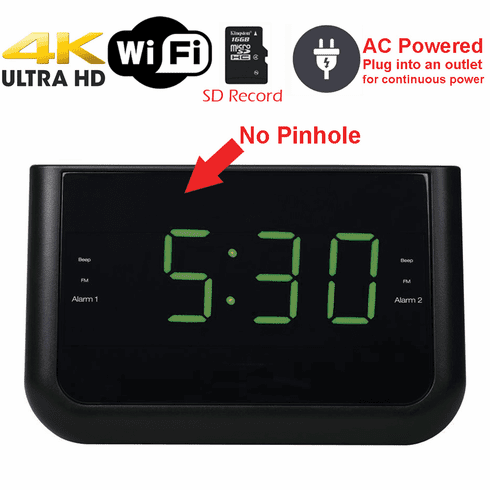 4K Ultra HD WiFi Alarm Clock Radio Spy Camera