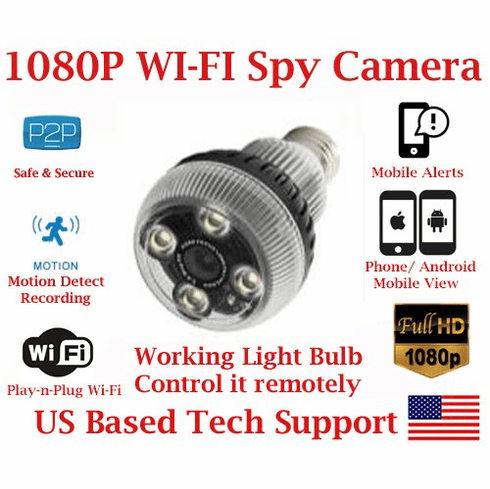 AES LED Lamp Light Bulb Wi-Fi Spy Camera with 1080P Resolution SD Card Slot Remote View Live Stream Playback Covert Hidden Nanny Camera Spy Gadget