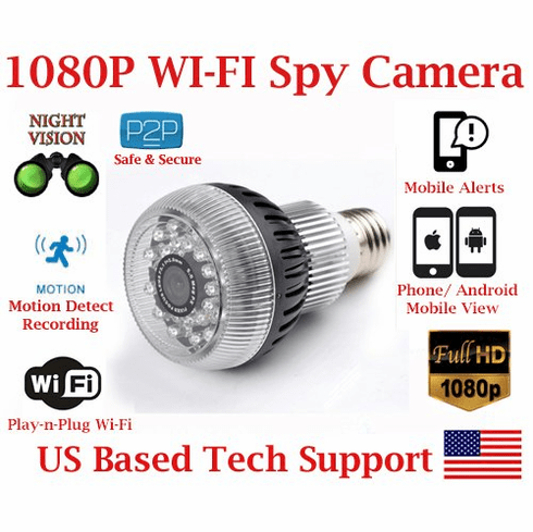 AES Night Vision Light Bulb Wi-Fi Spy Camera with IR Night Vision 1080P Resolution SD Card Slot Remote View Live Stream Playback Covert Hidden Nanny Camera Spy Gadget