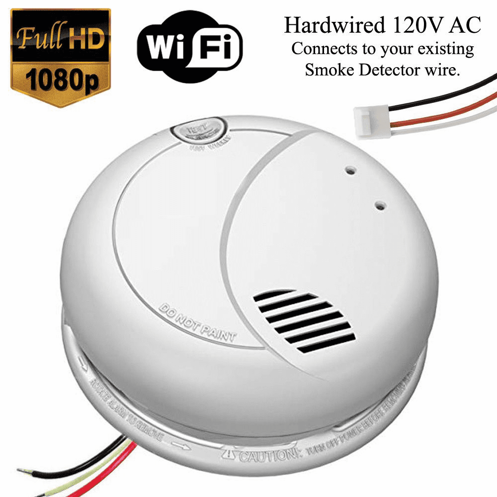 B7010 1080P WiFi Smoke Detector Spy Camera (Custom, 110V AC, Quick Connector)