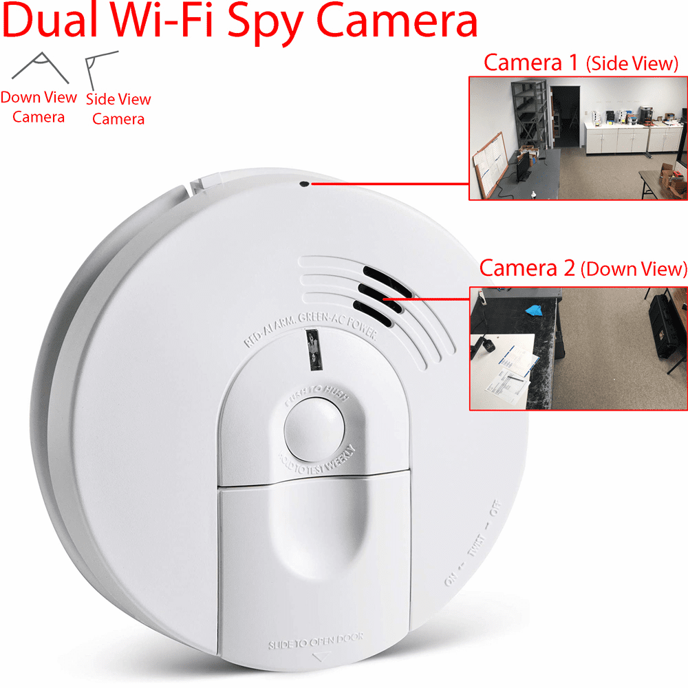 Dual 1080P WiFi Smoke Detector Spy Camera (Dual Camera, K4618, 110V AC, Quick Connector)