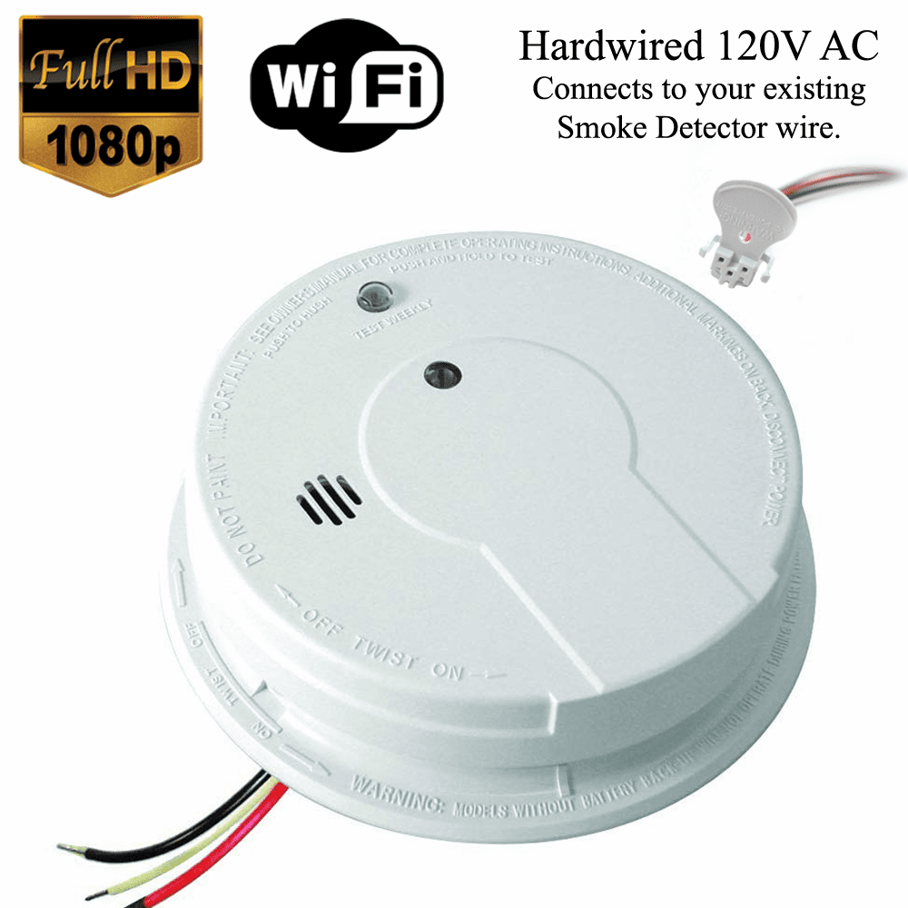 K12040 1080P WiFi Smoke Detector Spy Camera (Custom, 110V AC, Quick Connector)