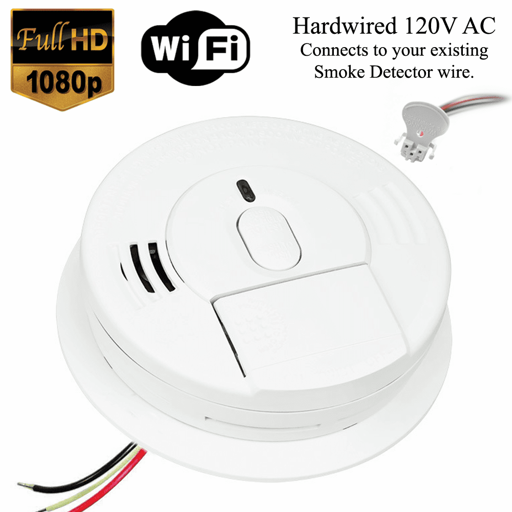 K12060 1080P WiFi Smoke Detector Spy Camera (Custom, 110V AC, Quick Connector)