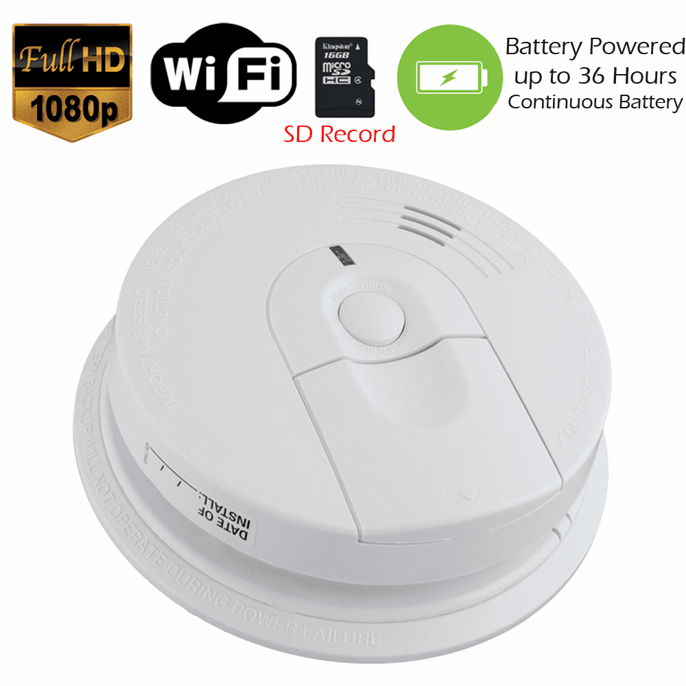 K4618 1080P Elite WiFi 36 hour Battery Powered Smoke Detector Spy Camera