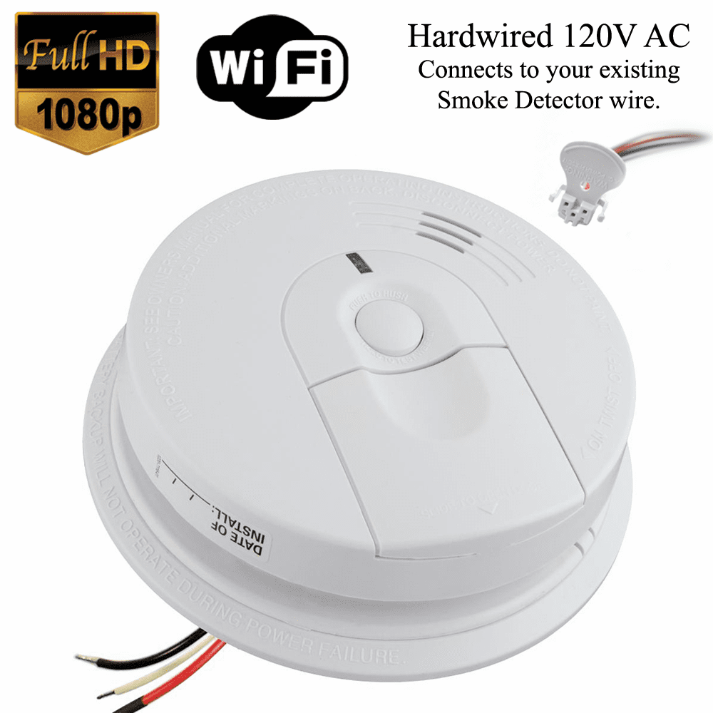 K4618 1080P WiFi Smoke Detector Spy Camera (Custom, 110V AC, Quick Connector)