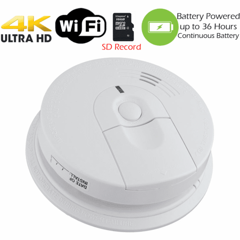 K4618 4K Ultra HD Battery Powered WiFi Smoke Detector Fire Alarm Spy Camera