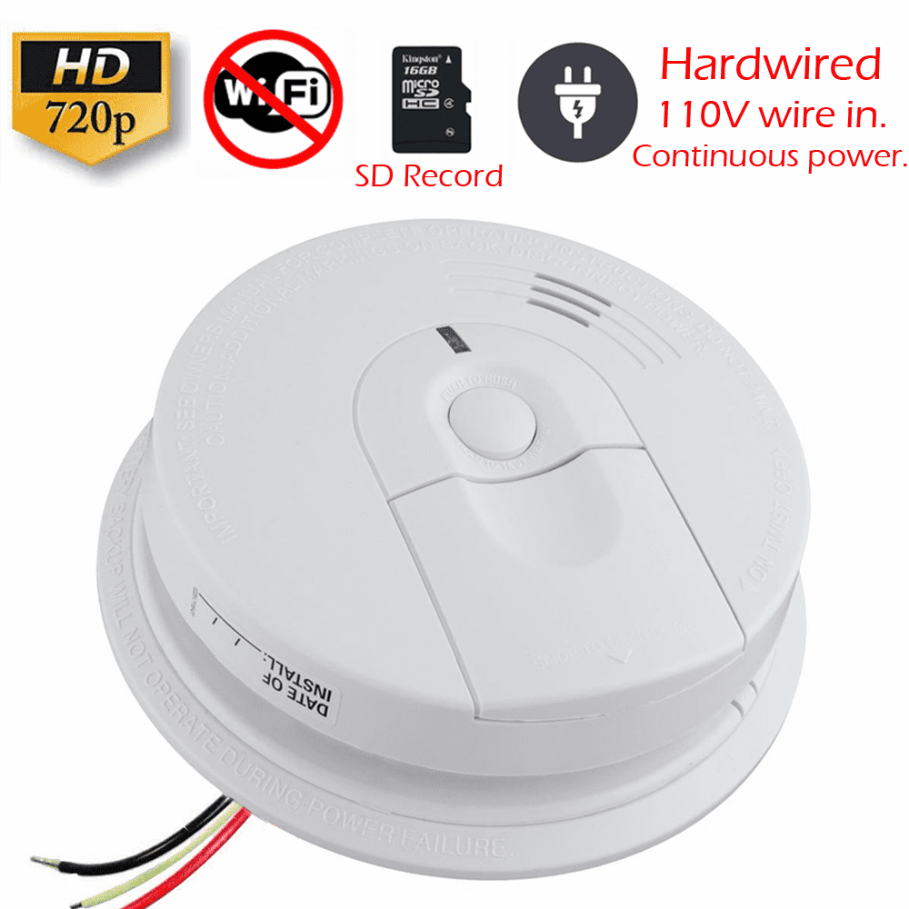 K4618 SecureGuard AC Hardwired Smoke Detector Spy Camera (Non-Wi-Fi, 110V AC Powered)