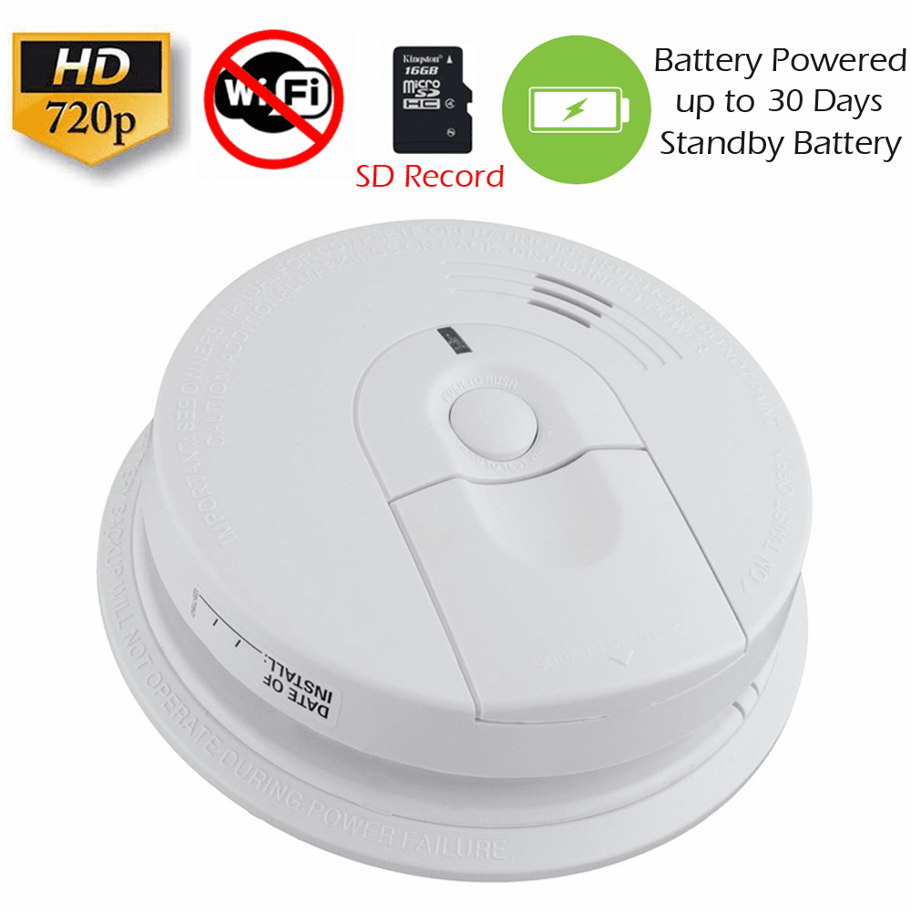 K4618 SecureGuard Battery Powered Smoke Detector Spy Camera (Non-Wi-Fi, Battery Powered)