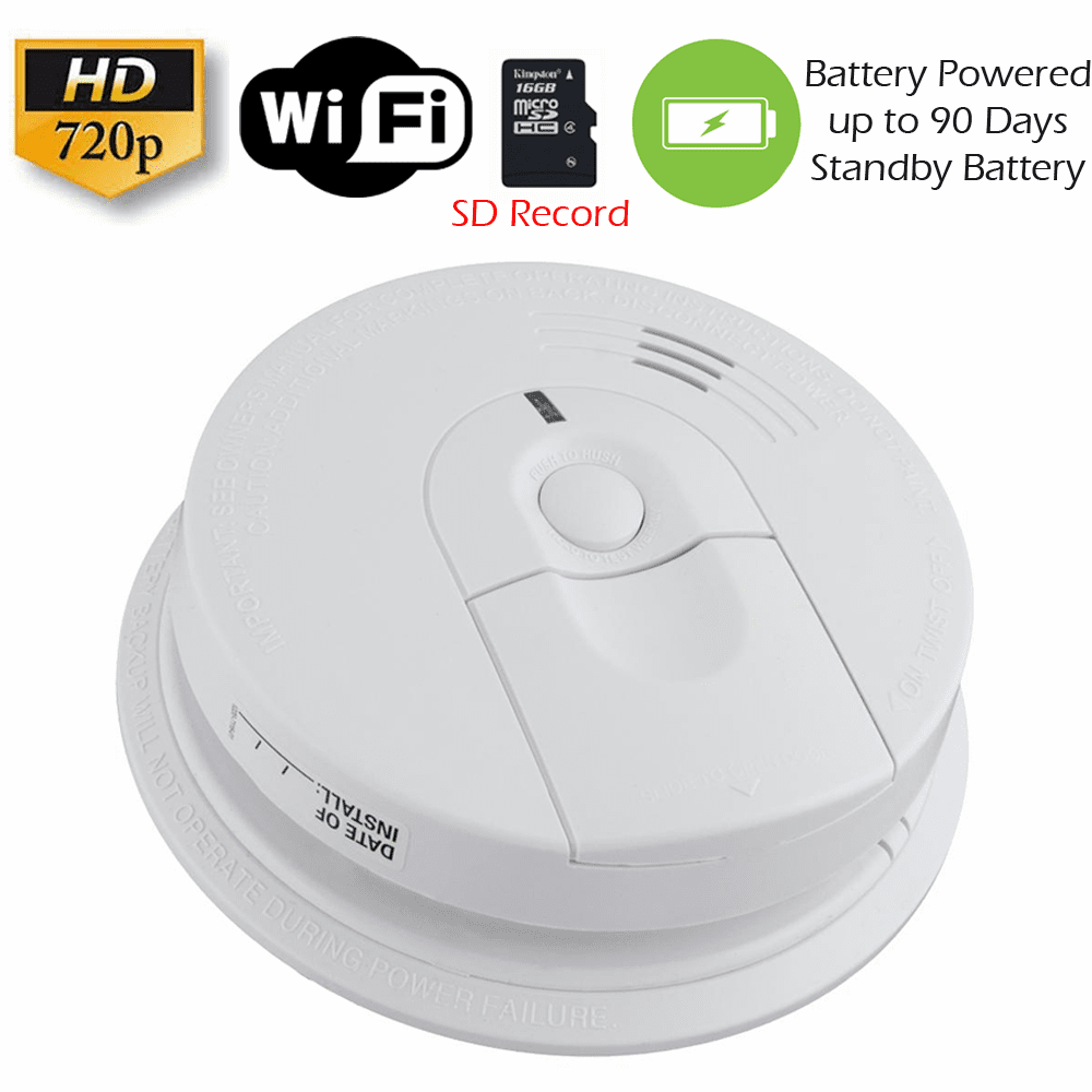 K4618 XSMOKE 720P Long Battery Life WiFi Smoke Detector Fire Alarm Spy Camera
