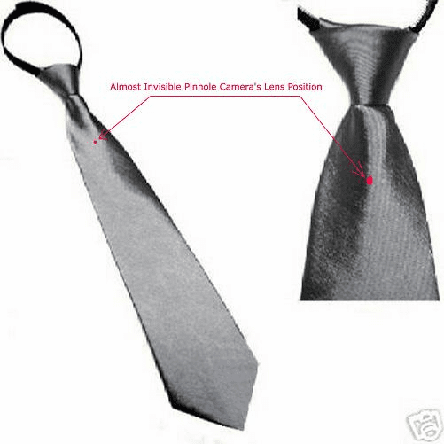 Men's Zipper Tie hidden pinhole cam spy camera recorder