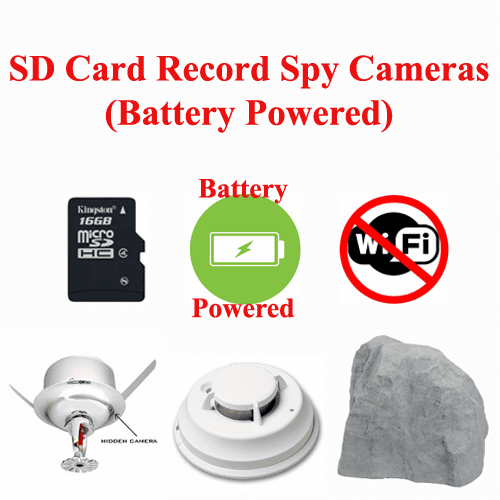 SD Card Record Spy Cameras (Battery Powered)