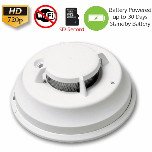 SecureGuard Battery Powered Commercial Grade Smoke Detector Spy Camera (Non-Wi-Fi, Battery Powered)