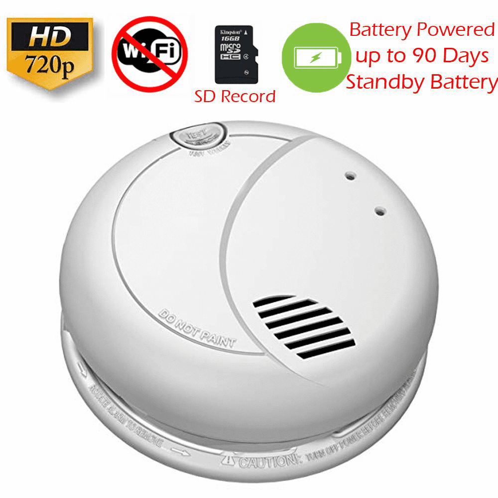 SecureGuard Battery Powered Smoke Detector Spy Camera (Non-Wi-Fi, Battery Powered)