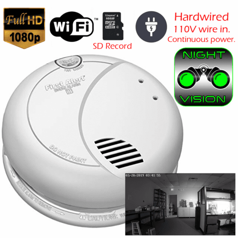 SecureGuard DC / AC Powered Night Vision Invisible IR Smoke Detector Spy Camera (Wi-Fi, 5V DC or 110V AC Powered)