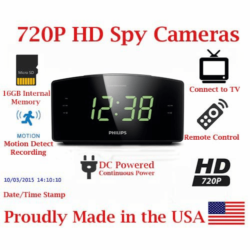 SecureGuard HD 720P 100% Covert Alarm Clock Radio Spy Camera Hidden Nanny Camera Spy Gadget ( SD CARD MODEL / NO WI-FI )
