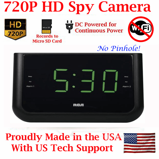 SecureGuard HD 720p Alarm Clock Radio Spy Camera Covert Hidden Nanny Camera Spy Gadget (New Cost Efficient Line)