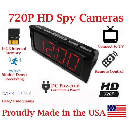 SecureGuard HD 720p Onn Clock Large Display Alarm Clock Radio Spy Camera Covert Pinhole Hidden Nanny Camera Spy Gadget