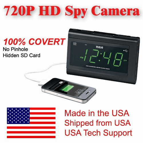 SecureGuard HD 720p USB Charger & Clock Radio Spy Camera Covert Hidden Nanny Camera Spy Gadget (New Cost Efficient Line)