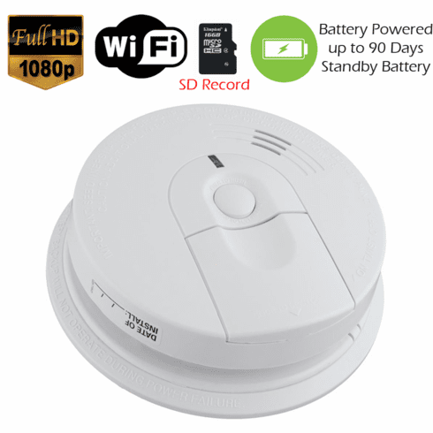 K4618 XSMOKE 1080P Long Battery Life WiFi Smoke Detector Fire Alarm Spy Camera