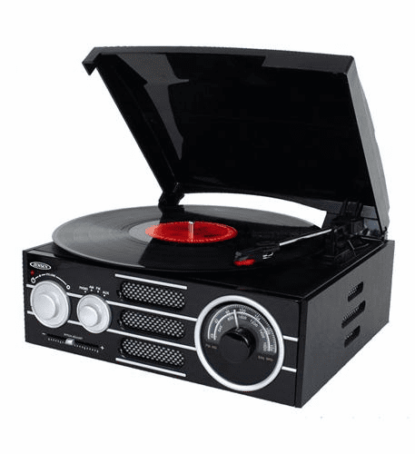 Jensen 3-Speed Stereo Wood Cabinet Turntable