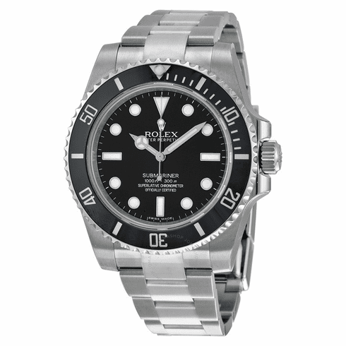 (Pre owned) Authentic black and silver submariner men's diamond rolex watch