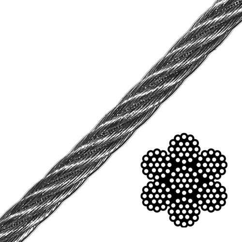 "1-1/8"" 6x19 Class Galvanized Wire Rope - 117000 lbs Breaking Strength"