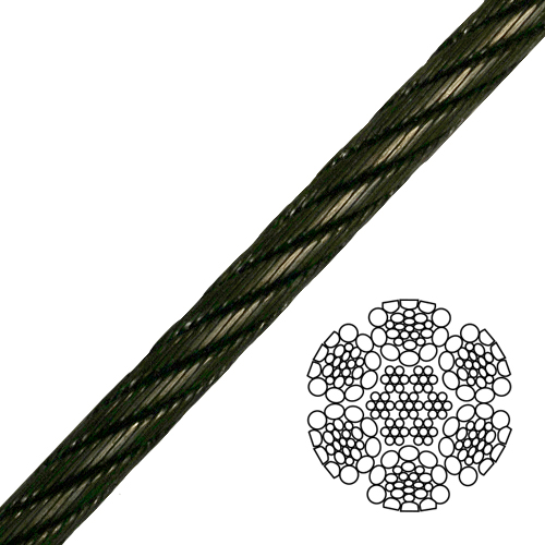 """1/2"""" 6x26 Impact Swaged Wire Rope - 36800 lbs Breaking Strength"""