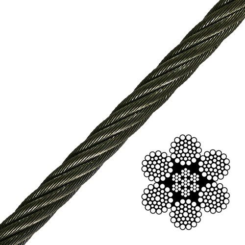 "1/2"" 6x36 Class Wire Rope - 26600 lbs Breaking Strength"