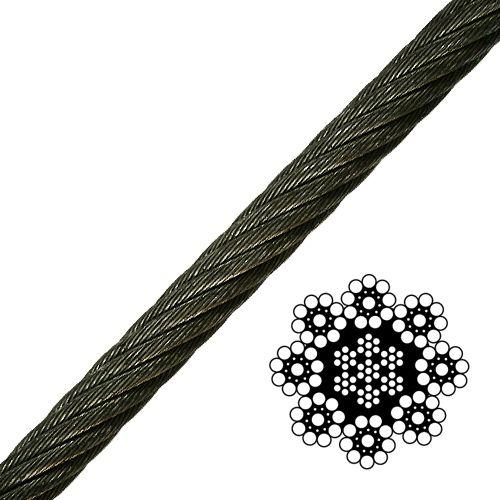"1/2"" 8-Strand Spin-Resistant Wire Rope - 23200 lbs Breaking Strength"