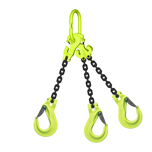 "1/2"" x 15 ft TG3-EGKN GrabiQ Adjustable 3-Leg Grade 100 Chain Sling - 39000 lbs WLL"