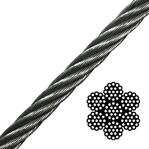 "1/4"" 7x19 Galvanized Aircraft Cable - 7000 lbs Breaking Strength"