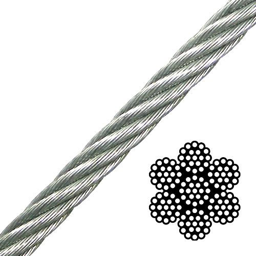 """1/4"""" 7x19 Galvanized Aircraft Cable - 7000 lbs Breaking Strength"""