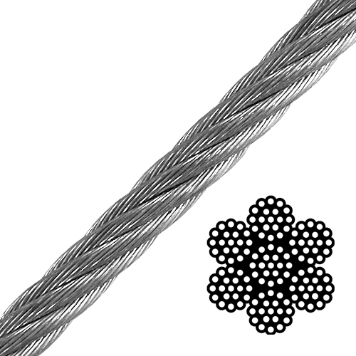"1"" 6x19 Class Galvanized Wire Rope - 93000 lbs Breaking Strength"