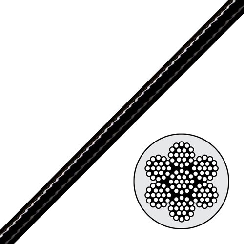 3 16 1 4 Black Nylon Coated Galvanized Aircraft Cable 4200 Lbs Breaking Strength