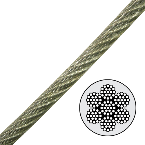 """3/16"""" - 1/4"""" PVC Coated Galvanized Aircraft Cable - 4200 lbs Breaking Strength"""