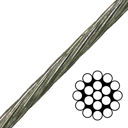 """3/4"""" 1x19 EHS Galvanized Guy Strand Cable - 58300 lbs Breaking Strength"""