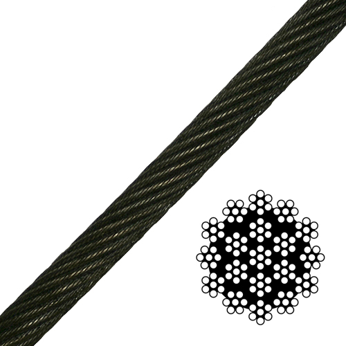 "3/8"" 19x7 Spin-Resistant Wire Rope - 13260 lbs Breaking Strength"