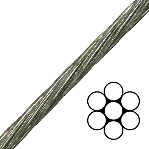 "3/8"" 1x7 EHS Galvanized Guy Strand Cable - 15400 lbs Breaking Strength"