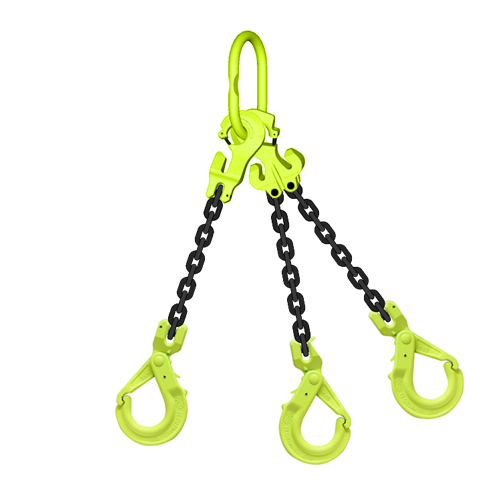 "5/16"" x 10 ft TG3-GBK GrabiQ Adjustable 3-Leg Grade 100 Chain Sling - 14800 lbs WLL"