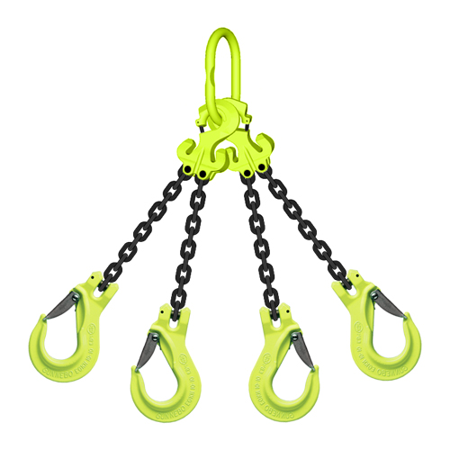 "5/16"" x 5 ft TG4-EGKN GrabiQ Adjustable 4-Leg Grade 100 Chain Sling - 14800 lbs WLL"