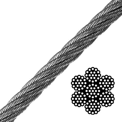 """5/8"""" 6x19 Class Galvanized Wire Rope - 37000 lbs Breaking Strength"""