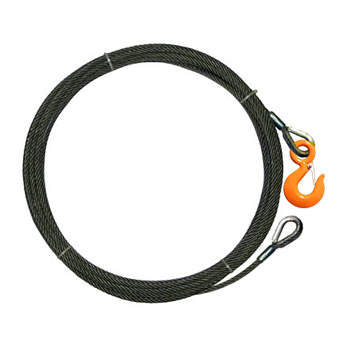 """7/16"""" x 75 ft Wire Rope Winch Line Extension - 20400 lbs Breaking Strength"""