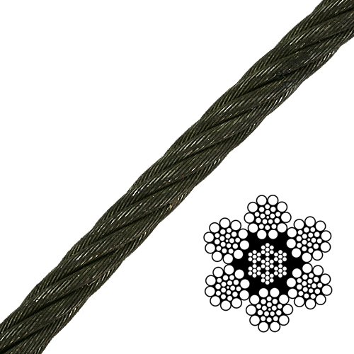 "7/8"" 6x19 Class Wire Rope - 79600 lbs Breaking Strength"