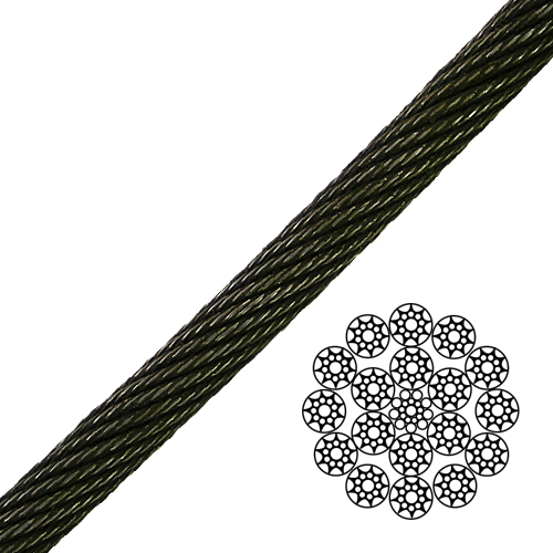 """9/16"""" 19x19 Compacted Spin-Resistant Wire Rope - 37500 lbs Breaking Strength"""