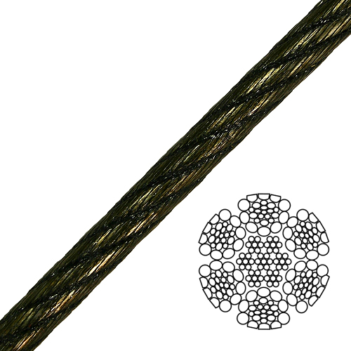 "9/16"" 6x26 Swaged Wire Rope - 40000 lbs Breaking Strength"