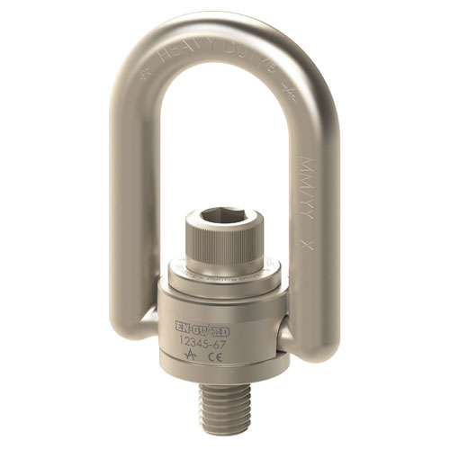 "ADB 3/8""-16 x 0.56"" En-Guard Nickel Plated Swivel Hoist Ring - 1000 lbs WLL - #EN33312"