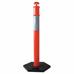 "Reflective Traffic Delineator - 42"" Post & 15 lbs Base"