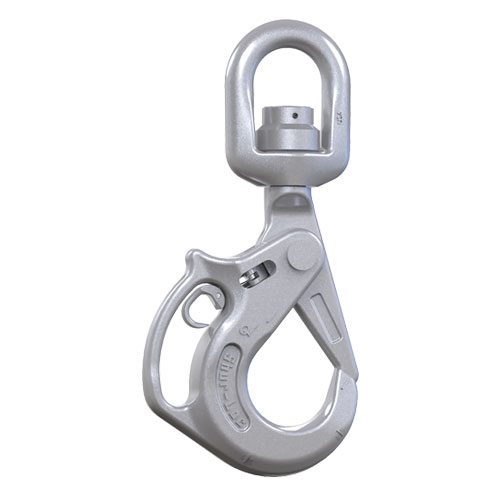 "Crosby 1"" S-13326AH Shur-Loc Grade 100 Self-Closing Swivel Handle Hook - 59700 lbs WLL - #1005050"